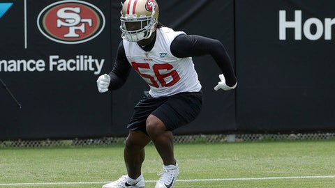 San Francisco 49ers linebacker Reuben Foster practices at the team's NFL football training facility in Santa Clara, Calif., Wednesday, May 30, 2018. (AP Photo/Jeff Chiu)