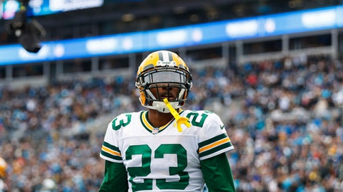 Green Bay Packers cornerback Damarious Randall (23) in action against the Green Bay Packers during an NFL game in Charlotte, N.C. on Sunday, Dec. 17, 2017. (Chris Keane/AP Images for Panini)
