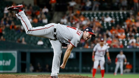 Washington Nationals starter Max Scherzer follows through on a pitch to the Baltimore Orioles during the sixth inning of a baseball game, Wednesday, May 30, 2018, in Baltimore. The Nationals won 2-0. (AP Photo/Patrick Semansky)