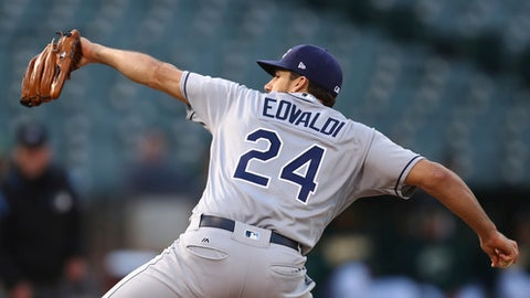 Tampa Bay Rays pitcher Nathan Eovaldi works against the Oakland Athletics during the first inning of a baseball game Wednesday, May 30, 2018, in Oakland, Calif. (AP Photo/Ben Margot)