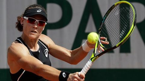 Australia's Samantha Stosur plays a shot against Belgium's Elise Mertens during their second round match of the French Open tennis tournament at the Roland Garros stadium in Paris, France, Thursday, May 31, 2018. (AP Photo/Alessandra Tarantino)