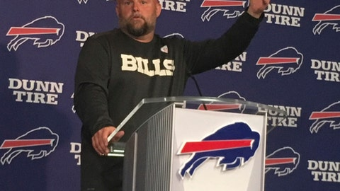 Buffalo Bills NFL football team offensive coordinator Brian Daboll gestures while speaking to the media in Orchard Park, N.Y., Thursday, May 31, 2018. Daboll, who grew up near Buffalo, spent last year overseeing the offense at NCAA college football national champion Alabama. (AP Photo/John Wawrow)
