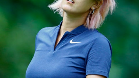 Michelle Wie watches her tee shot on the 11th hole during the first round of the U.S. Women's Open golf tournament, Thursday, May 31, 2018, in Shoal Creek, Ala. (AP Photo/Butch Dill)