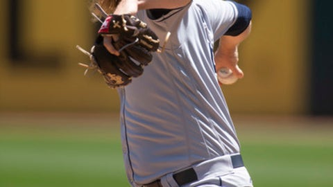 Tampa Bay Rays starting pitcher Ryne Stanek (55) delivers against the Oakland Athletics during the first inning of a baseball game, Thursday, May 31, 2018, in Oakland, Calif. (AP Photo/D. Ross Cameron)