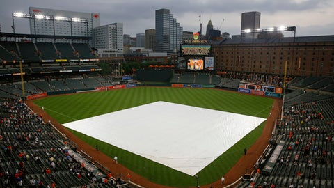 A tarp covers the infield before a baseball game between the New York Yankees and the Baltimore Orioles, Thursday, May 31, 2018, in Baltimore. The start of the game was delayed because of rain in the area. (AP Photo/Patrick Semansky)