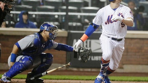 New York Mets' Brandon Nimmo follows through on a home run during the eighth inning of a baseball game against the Chicago Cubs on  Thursday, May 31, 2018, in New York. The Cubs won 5-1. (AP Photo/Frank Franklin II)