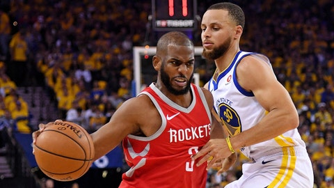 May 20, 2018; Oakland, CA, USA; Houston Rockets guard Chris Paul (3) drives to the basket against Golden State Warriors guard Stephen Curry (30) during the second quarter in game three of the Western conference finals of the 2018 NBA Playoffs at Oracle Arena. Mandatory Credit: Kyle Terada-USA TODAY Sports