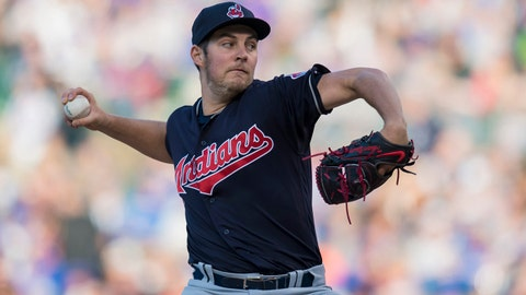 May 22, 2018; Chicago, IL, USA; Cleveland Indians starting pitcher Trevor Bauer (47) pitches during the second inning against the Chicago Cubs at Wrigley Field. Mandatory Credit: Patrick Gorski-USA TODAY Sports
