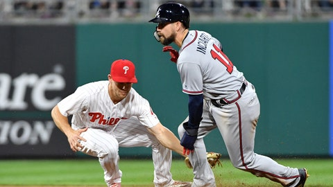 May 23, 2018; Philadelphia, PA, USA; Philadelphia Phillies second baseman Scott Kingery (4) tags out Atlanta Braves center fielder Ender Inciarte (11) who was trying to steal second base at Citizens Bank Park. Mandatory Credit: Eric Hartline-USA TODAY Sports