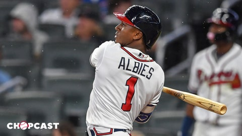 May 16, 2018; Atlanta, GA, USA; Atlanta Braves second baseman Ozzie Albies (1)  hits a triple against the Chicago Cubs during the eighth inning at SunTrust Park. Mandatory Credit: Dale Zanine-USA TODAY Sports