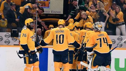 May 10, 2018; Nashville, TN, USA; Nashville Predators players react after a loss to the Winnipeg Jets in game seven of the second round of the 2018 Stanley Cup Playoffs at Bridgestone Arena. Mandatory Credit: Christopher Hanewinckel-USA TODAY Sports