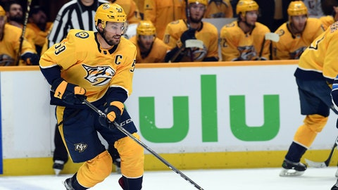 May 5, 2018; Nashville, TN, USA; Nashville Predators defenseman Roman Josi (59) skates with the puck during the first period against the Winnipeg Jets in game five of the second round of the 2018 Stanley Cup Playoffs at Bridgestone Arena. Mandatory Credit: Christopher Hanewinckel-USA TODAY Sports