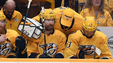 May 10, 2018; Nashville, TN, USA; Nashville Predators goalie Pekka Rinne (35) talks with left wing Scott Hartnell (17) late in the third period of a loss to the Winnipeg Jets in game seven of the second round of the 2018 Stanley Cup Playoffs at Bridgestone Arena. Mandatory Credit: Christopher Hanewinckel-USA TODAY Sports