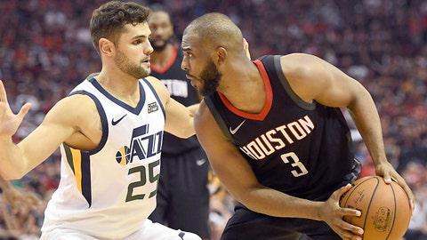 May 8, 2018; Houston, TX, USA; Houston Rockets guard Chris Paul (3) is defended by Utah Jazz guard Raul Neto (25) in the second half in game five of the second round of the 2018 NBA Playoffs at Toyota Center. Mandatory Credit: Thomas B. Shea-USA TODAY Sports