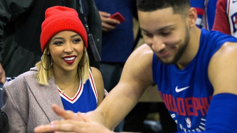 Apr 16, 2018; Philadelphia, PA, USA; Philadelphia 76ers guard Ben Simmons (right) talks with his girlfriend recording artist Tinashe before game two of the first round of the 2018 NBA Playoffs against the Miami Heat at Wells Fargo Center. Mandatory Credit: Bill Streicher-USA TODAY Sports