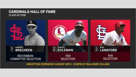 The Cardinals Hall of Fame Class of 2018: pitcher Harry Brecheen and outfielders Vince Coleman and Ray Lankford.