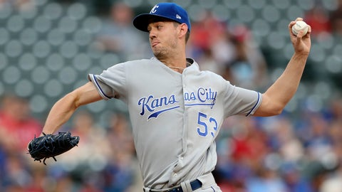 May 25, 2018; Arlington, TX, USA;  Kansas City Royals starting pitcher Eric Skoglund (53) throws during the first inning against the Texas Rangers at Globe Life Park in Arlington. Mandatory Credit: Kevin Jairaj-USA TODAY Sports