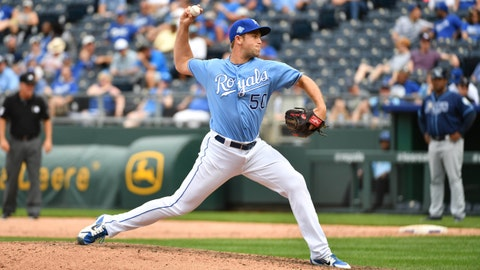 May 16, 2018; Kansas City, MO, USA; Kansas City Royals relief pitcher Jason Adam (50) delivers a pitch in the eighth inning against the Tampa Bay Rays at Kauffman Stadium. Tampa Bay won 5-3.  Mandatory Credit: Denny Medley-USA TODAY Sports