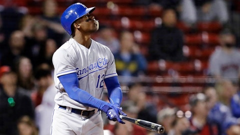 Kansas City Royals' Jorge Soler watches the flight of the ball on his three-run home run off Boston Red Sox starting pitcher Brian Johnson during the 13th inning of a baseball game at Fenway Park in Boston, Tuesday, May 1, 2018. (AP Photo/Charles Krupa)