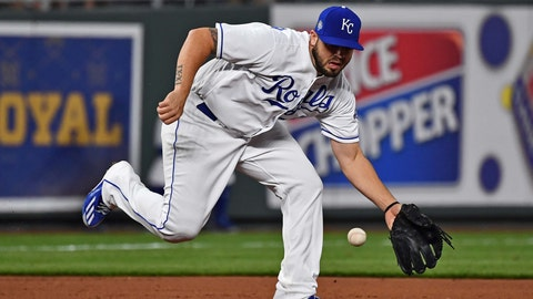 Mike Moustakas is hitting.302 with eight homers and 19 RBIs in 28 games this season.	 Peter G. Aiken  Peter Aiken