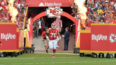 Laurent Duvernay Tardif is introduced before a Chiefs game last September.	 Denny Medley-USA TODAY Sports