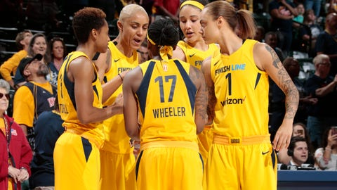 INDIANAPOLIS - MAY 19: of the Indiana Fever of the Chicago Sky during their WNBA game at Bankers Life Fieldhouse on May 8, 2018 in Indianapolis, Indiana.    NOTE TO USER: User expressly acknowledges and agrees that, by downloading and or using this Photograph, user is consenting to the terms and condition of the Getty Images License Agreement. Mandatory Copyright Notice: 2018 NBAE  (Photo by Ron Hoskins/NBAE via Getty Images) *** Local Caption ***