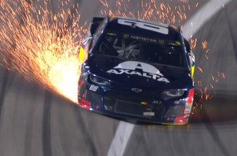 Sparks fly after contact between Daniel Suárez, Alex Bowman | 2018 KANSAS | FOX NASCAR