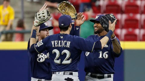 Domingo Santana and Christian Yelich, Brewers outfielders (↑ UP)