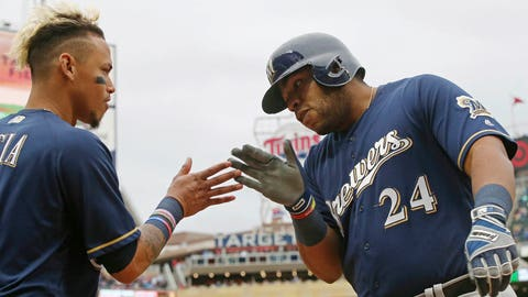 Jesus Aguilar, Brewers first baseman (↑ UP)
