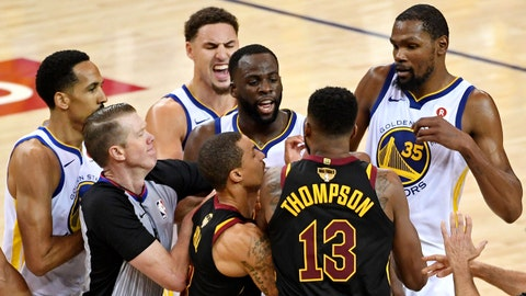 May 31, 2018; Oakland, CA, USA; Cleveland Cavaliers center Tristan Thompson (13) and Golden State Warriors forward Draymond Green (23) argue during overtime in game one of the 2018 NBA Finals at Oracle Arena. Mandatory Credit: Kyle Terada-USA TODAY Sports