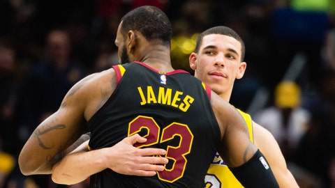 CLEVELAND, OH - DECEMBER 14: LeBron James #23 of the Cleveland Cavaliers and Lonzo Ball #2 of the Los Angeles Lakers embrace during the first half at Quicken Loans Arena on December 14, 2017 in Cleveland, Ohio. NOTE TO USER: User expressly acknowledges and agrees that, by downloading and or using this photograph, User is consenting to the terms and conditions of the Getty Images License Agreement. (Photo by Jason Miller/Getty Images)