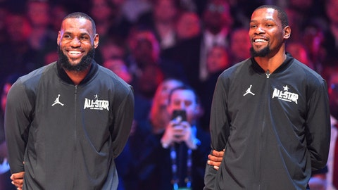 February 18, 2018; Los Angeles, CA, USA; Team LeBron forwards LeBron James of the Cleveland Cavaliers (23) and Kevin Durant (35) of the Golden State Warriors react before the 2018 NBA All Star Game at Staples Center. Mandatory Credit: Bob Donnan-USA TODAY Sports