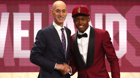 NEW YORK, NY - JUNE 21:  Collin Sexton poses with NBA Commissioner Adam Silver after being drafted eighth overall by the Cleveland Cavaliers during the 2018 NBA Draft at the Barclays Center on June 21, 2018 in the Brooklyn borough of New York City. NOTE TO USER: User expressly acknowledges and agrees that, by downloading and or using this photograph, User is consenting to the terms and conditions of the Getty Images License Agreement.  (Photo by Mike Stobe/Getty Images)