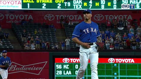 Rangers celebrate 7-4 win over the A's