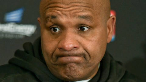FILE - In this Dec. 17, 2017 file photo, Cleveland Browns head coach Hue Jackson answers questions during a news conference after the Baltimore Ravens defeated his team in an NFL football game, in Cleveland.  Jackson is making good on his promise to jump into Lake Erie. Jackson announced Monday, May 14, 2018, that he will take a dip into the chilly water on June 1 for charity. Last season, Jackson vowed that if the Browns didnt improve on their 1-15 record from 2016 - his first season - that he would jump into the lake. Cleveland went 0-16 and Jackson is keeping his word.  (AP Photo/David Richard, File)