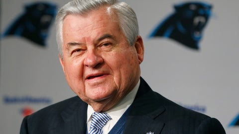 FILE - In this Jan. 15, 2013, file photo, Carolina Panthers owner Jerry Richardson speaks during a news conference for the NFL football team in Charlotte, N.C. People familiar with the situation say hedge fund manager David Tepper has agreed to buy the Panthers from Richardson for a record $2.2 billion. The people spoke to The Associated Press on Tuesday, May 15, 2018, on condition of anonymity because the team has not yet announced the sale. The purchase is subject to a vote at the NFL owners meeting next week in Atlanta. (AP Photo/Chuck Burton, File)