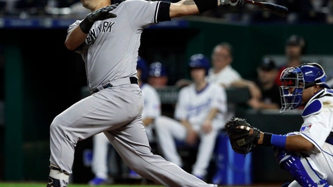 New York Yankees' Gary Sanchez watches a solo home run off Kansas City Royals relief pitcher Blaine Boyer during the ninth inning of a baseball game at Kauffman Stadium in Kansas City, Mo., Saturday, May 19, 2018. The Yankees defeated the Royals 8-3. (AP Photo/Orlin Wagner)