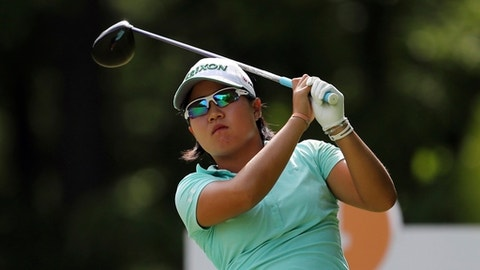 Nasa Hataoka, of Japan, drives off the fourth tee during the third round of the LPGA Volvik Championship golf tournament at the Travis Pointe Country Club Saturday, May 26, 2018, in Ann Arbor, Mich. (AP Photo/Carlos Osorio)