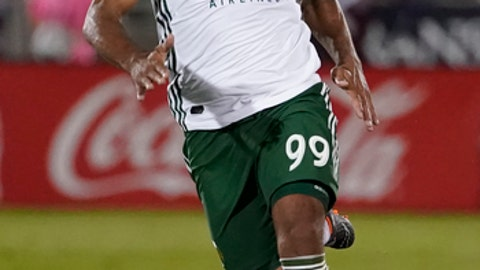 Portland Timbers forward Samuel Armenteros moves the ball against the Colorado Rapids during the second half of an MLS soccer match Saturday, May 26, 2018, in Commerce City, Colo. Portland won 3-2. (AP Photo/Jack Dempsey)