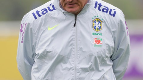 Brazil's head coach Tite during a soccer team training session in London, Tuesday, May 29, 2018. Brazil will play Croatia in a pre-world cup soccer friendly at Anfield Stadium in Liverpool, England on Sunday. (AP Photo/Kirsty Wigglesworth)