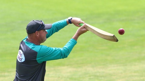 Pakistan head coach Mickey Arthur during a nets session at Headingley, Leeds, England, Thursday May 31, 2018 one day before the start of the second cricket test match against England. (Tim Goode/PA via AP)