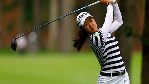 Minjee Lee, of Australia, tees off on the 11th hole during the U.S. Women's Open golf tournament, Thursday, May 31, 2018, in Shoal Creek, Ala. (AP Photo/Butch Dill)