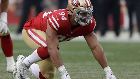 FILE - In this Dec. 24, 2017, file photo, San Francisco 49ers defensive end Solomon Thomas lines up against the Jacksonville Jaguars during an NFL football game in Santa Clara, Calif. Thomas' older sister, Ella Thomas, killed herself in January. Thomas and his family now want to use the anguish from her death for a good cause by raising awareness about the dangers of depression and trying to prevent other suicides. (AP Photo/Marcio Jose Sanchez, File)