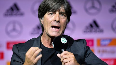 FILE -- In this Tuesday, May, 15, 2018 photo Germany's head coach Joachim Loew talks to the media at the German Football Museum in Dortmund, Germany. After guiding Germany to World Cup victory in 2014, Joachim Jogi Loew has been entrusted with its defense in Russia this summer and even beyond after signing a deal through the next tournament in 2022. (AP Photo/Martin Meissner, file)