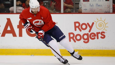 Washington Capitals center Evgeny Kuznetsov (92), from Russia, is shown during practice in Arlington, Va., Friday, June 1, 2018. Game 3 of the Stanley Cup NHL hockey finals between the Vegas Golden Knights and Capitals is scheduled for Saturday. (AP Photo/Pablo Martinez Monsivais)