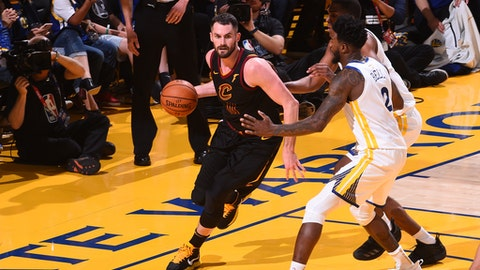 OAKLAND, CA - MAY 31:  Kevin Love #0 of the Cleveland Cavaliers handles the ball against the Golden State Warriors in Game One of the 2018 NBA Finals on May 31, 2018 at ORACLE Arena in Oakland, California. (Photo by Noah Graham/NBAE via Getty Images)