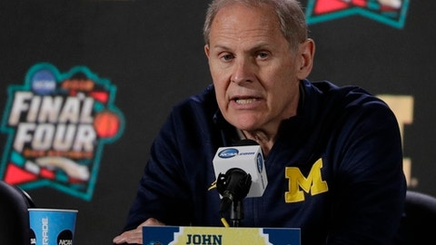 Michigan head coach John Beilein answers questions after a practice session for the Final Four NCAA college basketball tournament, Thursday, March 29, 2018, in San Antonio. (AP Photo/David J. Phillip)