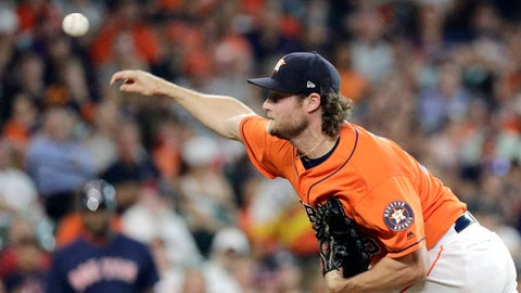 Houston Astros starting pitcher Gerrit Cole throws against the Boston Red Sox during the first inning of a baseball game Friday, June 1, 2018, in Houston. (AP Photo/David J. Phillip)
