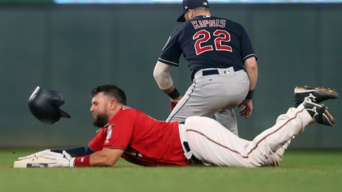 Minnesota Twins' Bobby Wilson loses his helmet as he reaches second on a double as Cleveland Indians second baseman Jason Kipnis waits for the throw in the sixth inning of a baseball game Friday, June 1, 2018, in Minneapolis. (AP Photo/Jim Mone)