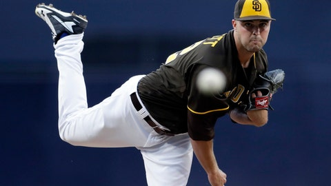 San Diego Padres starting pitcher Walker Lockett works against a Cincinnati Reds batter during the first inning of a baseball game Friday, June 1, 2018, in San Diego. (AP Photo/Gregory Bull)